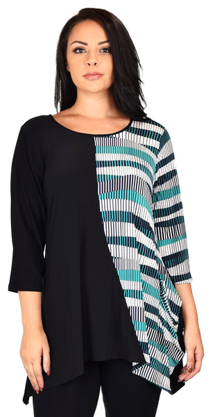 Striped 2 Tone Tunic Blouse Shirt Top Reg & Plus Sizes