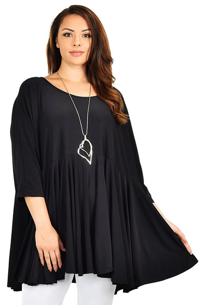 Oversize Plus Size Circle Bottom Flare Swing Tunic Dress Top