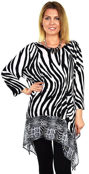 Dare2bStylish Women Zebra Print Tunic Dress Top in Plus Sizes