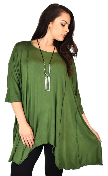 Plus Size Asymmetrical Fishtail Tunic Top w/Side Pockets