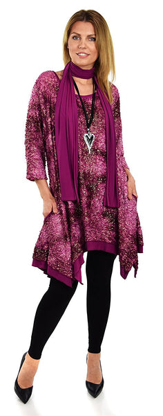 BoHo Artsy Lagenlook Comfortable Tunic Top with Matching Scarf Shawl