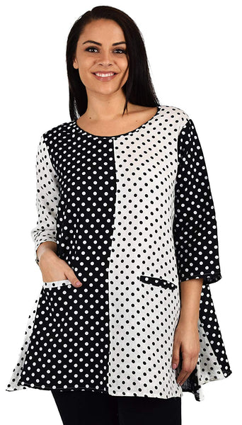 Zopali Women's 100% Linen Polka Dot Loose Fitting Tunic Top w/Front Pockets
