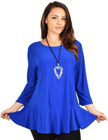 Plus Size Flare Hem Babydoll Summer Swing Tunic Blouse Top