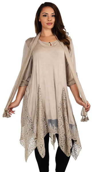 Dare2bStylish Women Plus Size Asymmetrical Lace Tunic Blouse Top Set with Scarf