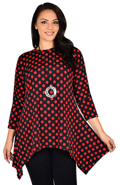 Dare2bStylish Women Vintage Polka Dot Asymmetrical Fishtail Swing Tunic Shirt Top