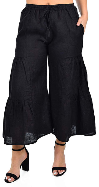 Zopali Women's Linen Boho Wide Leg 3 Tier Flared Bell Bottom Pants | Reg & Plus Sizes