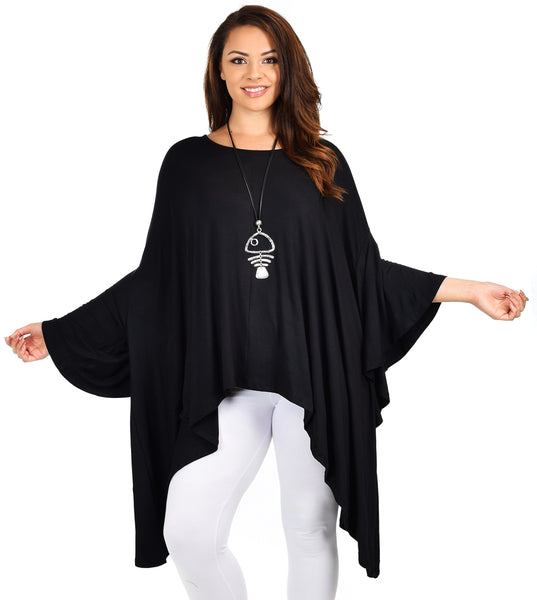 Asymmetrical Dress Tunic Top Cover Up w/ Butterfly Sleeves