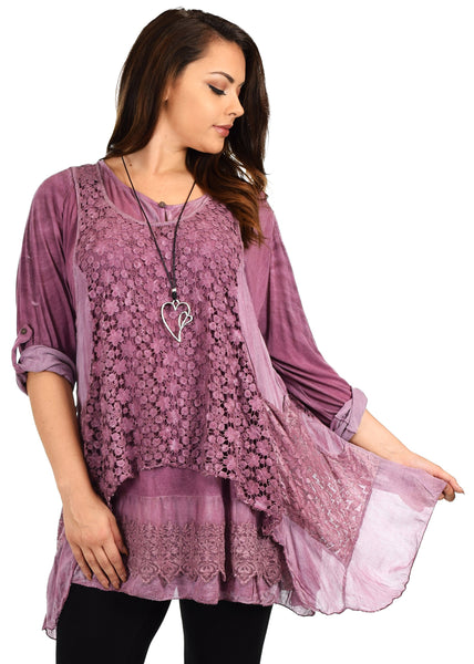 Dare2bStylish Women Plus Size Lace Tunic Blouse Top + Vest Set