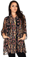 Button Down Semi-Sheer Tunic Blouse Shirt w/ Roll Up Sleeves