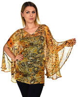 Beaded Butterfly Sleeve Tunic Blouse Top / Cover Up | Reg & Plus Sizes
