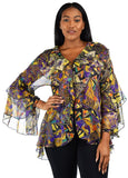 Plus Size Boho Flounce Blouse Swing Top Cover Up Dress Shirt