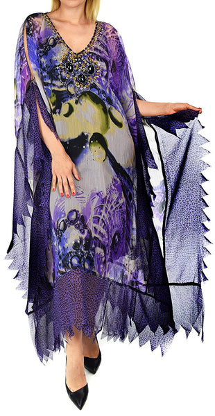 Beaded Stonework Caftan Poncho Tunic Top | Cover Up | Reg & Plus Sizes