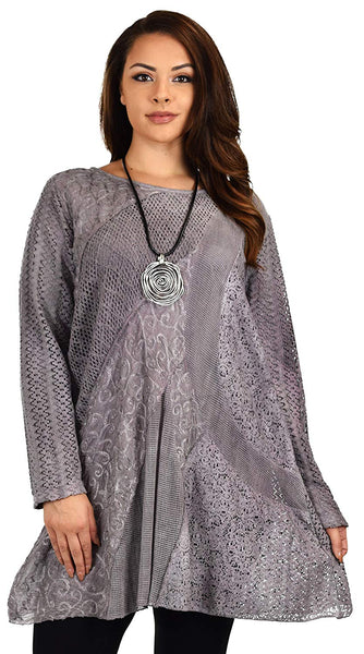 Dare2bStylish Women Plus Size Loose Fitting Lace Embroidered Tunic Blouse Top