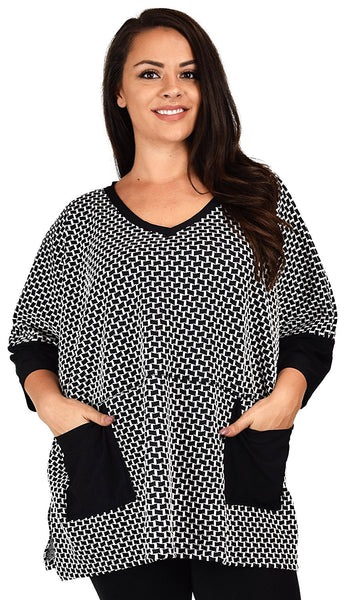 Plus Size Oversized V Neck Shirt Blouse Top With Front Pockets