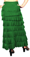 Dare2bStylish Women Waterfall 8 Tiered Boho Layered Maxi Skirt | Reg & Plus Sizes