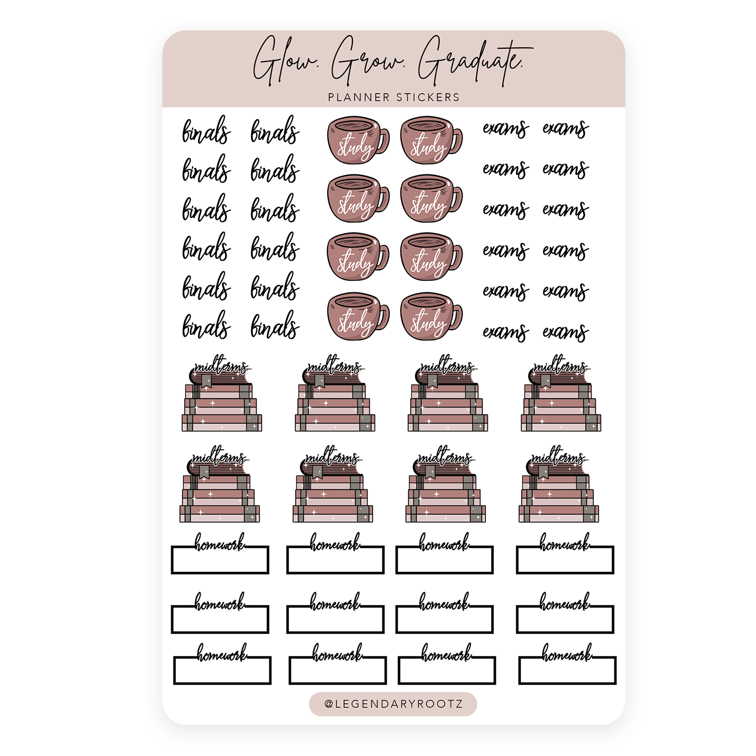Glow Grow Graduate Sticker Sheet
