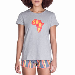 LADIES GREY SURF ARRICA TEE - RED/YELLOW