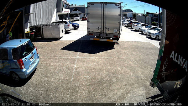 BlackVue DR750X-2CH IR installed into truck (front camera view)