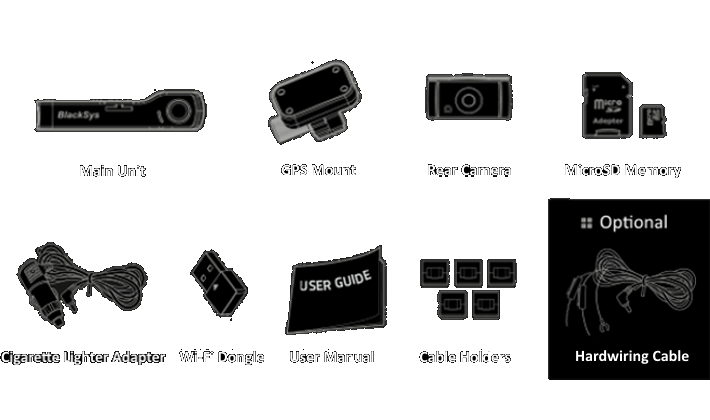 The package contains the main unit, rear camera, GPS Mount, MicroSD Memory Card, Cigarette Lighter Power Adapter, User Manual, Cable Holders and optional Hardwiring Cable