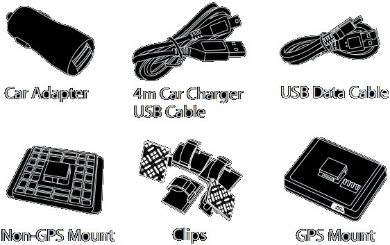 The package contains the front camera unit, GPS module, Dual-USB car charger, 4-meter USB power cord, USB data cable, trim pry tool, cable clips, spare 3M stickers, USB card reader and user manual