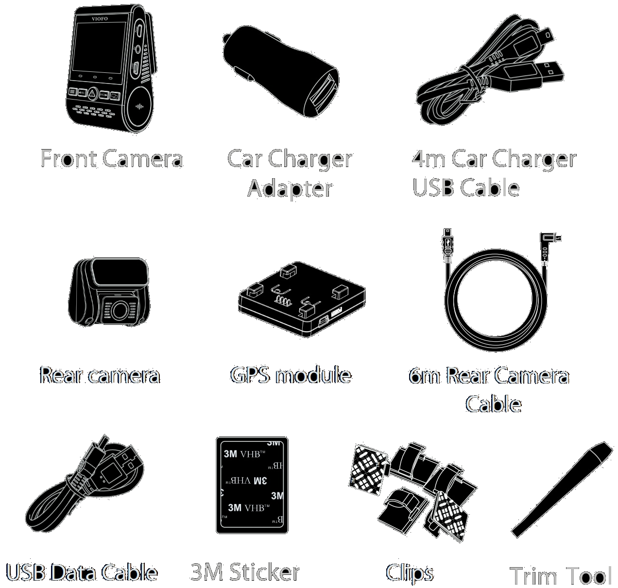 The package contains the front camera, rear camera, GPS module, Dual-USB power adapter, 4-meter USB-to-miniUSB power cord, 6-meter rear camera connection cable, USB data cable, trim pry tool, cable clips, spare 3M stickers and user manual
