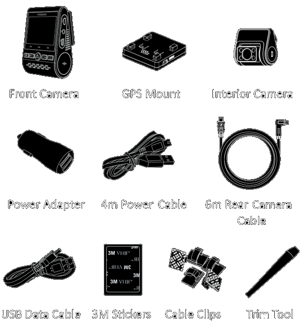 The package contains the front camera, interior camera, GPS module, Dual-USB power adapter, 4-meter USB-to-miniUSB power cord, 6-meter rear camera connection cable, 0.8-meter interior camera connection cable, USB data cable, trim pry tool, cable clips, spare 3M stickers and user manual