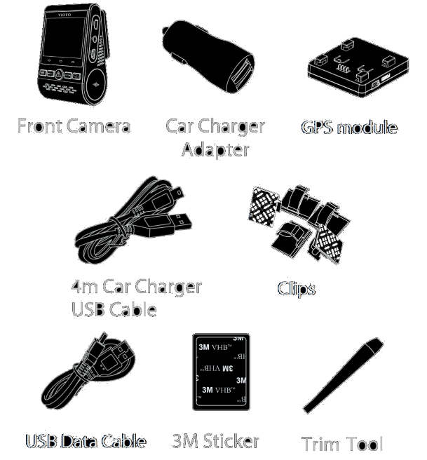 The package contains the front camera, GPS module, Dual-USB power adapter, 4-meter USB-to-miniUSB power cord, USB data cable, trim pry tool, cable clips, spare 3M stickers and user manual
