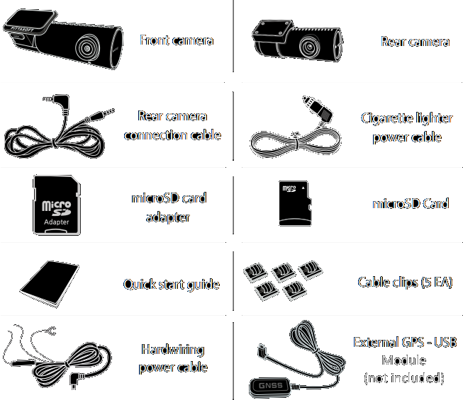 The package contains the front camera, rear camera, cigarette lighter power cord, 3-pin hardwire cable, 6-meter rear camera connection cable, 32GB miscroSD card, SD-to-MicroSD card adapter, cable clips and quick start guide