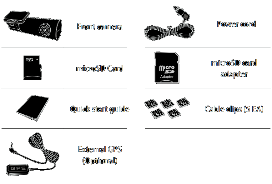The package contains the camera unit, power cord, 16GB miscroSD card, card reader, cable clips, microSD card adapter and quick start guide