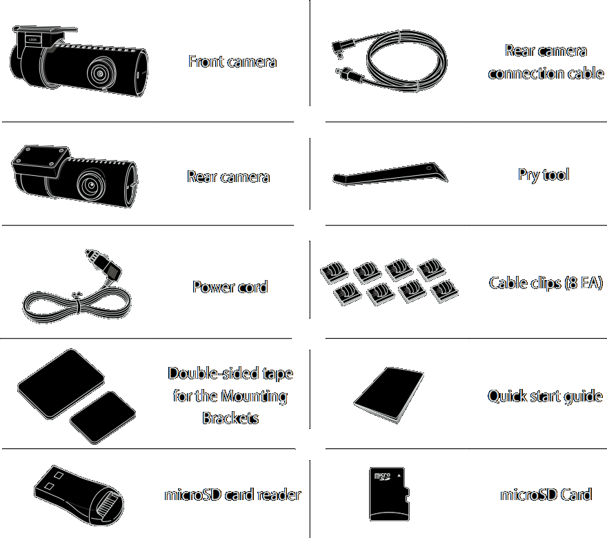 The package contains the front camera, rear camera, power cord, 6-meter rear camera connection cable, 16GB miscroSD card, card reader, double-sided tape for the mounting brackets, cable clips, pry tool and quick start guide