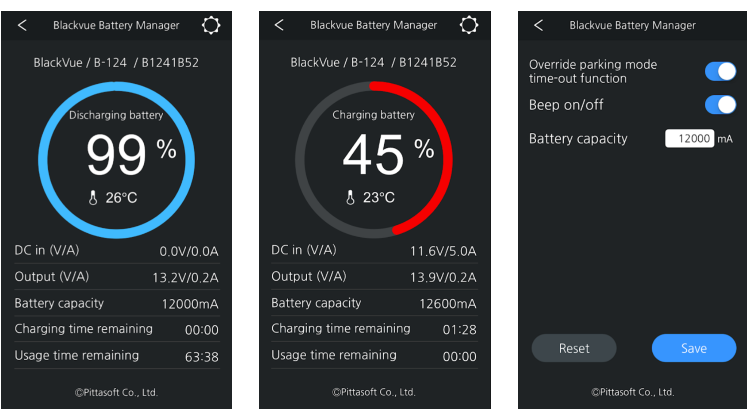 BlackVue Battery Smartphone App Interface