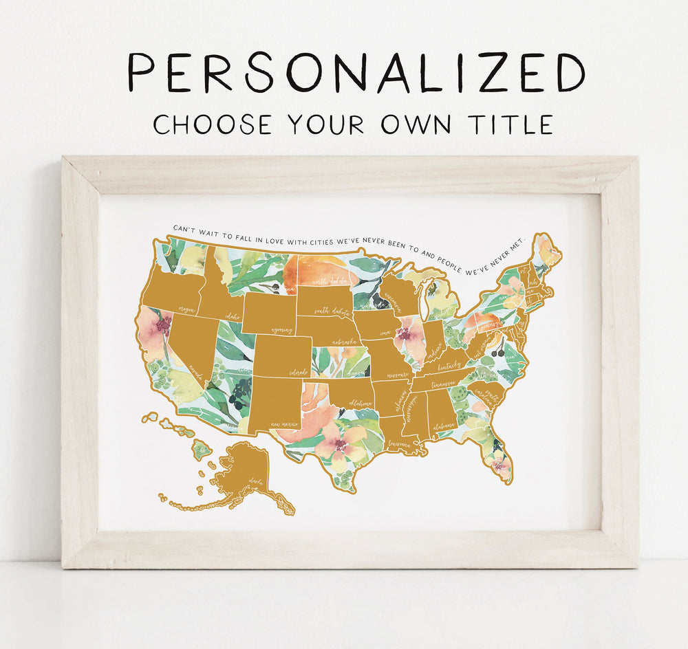 Personalized Scratch Your Travels Peachy Botanicals USA Map