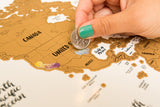 Scratch Your Travels® Watercolor World Map w/ US State Outlines