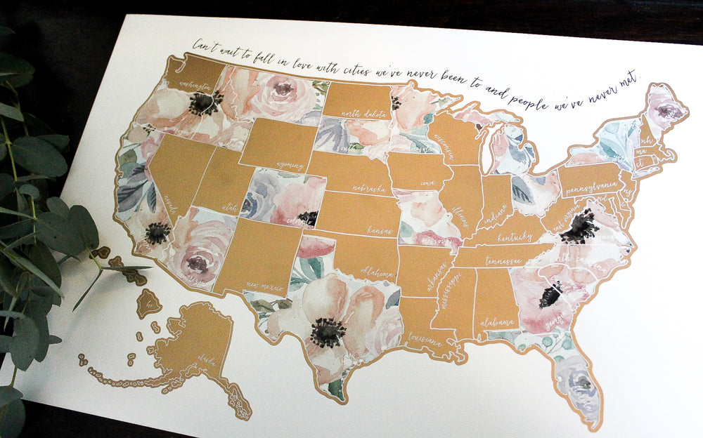 Personalized Scratch Your Travels Romantic Florals USA Map
