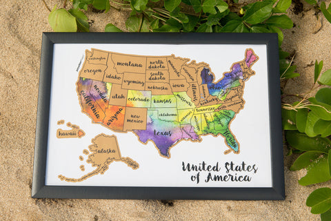 JetsetterMaps USA Scratch Your Travels™ Art Map Watercolor 12x18in Frame Poster - US United States Of America