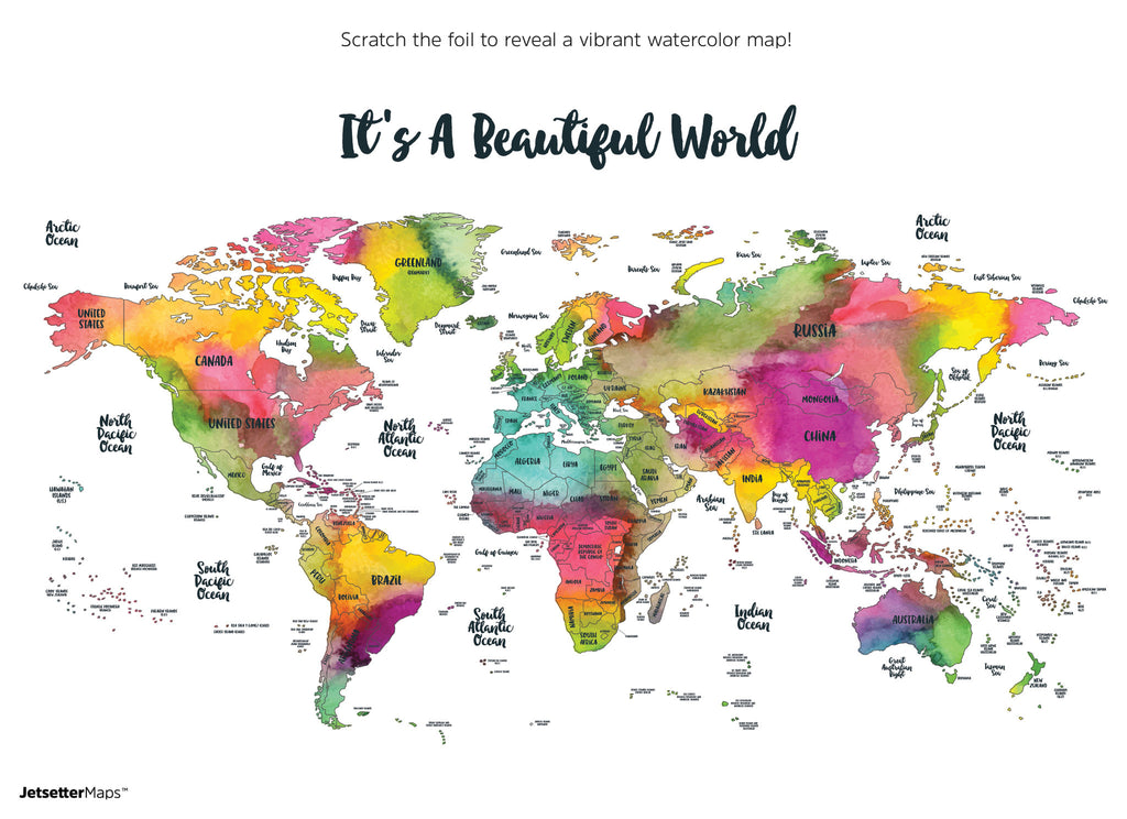 Scratch Your Travels Its A Beautiful World Map Suade LLC - Watercolor scratch off map