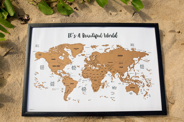 JetsetterMaps World Scratch Your Travels™ Art Map Watercolor 30x20in Frame Poster