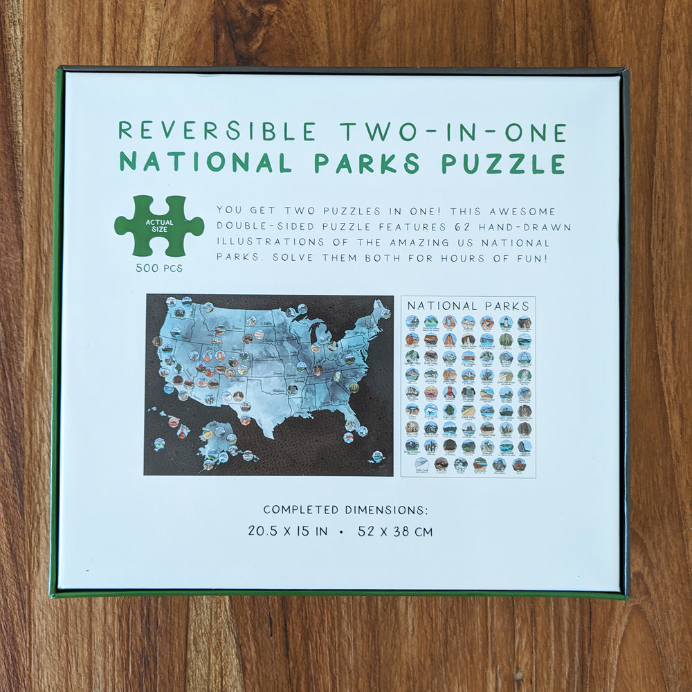 Reversible Two-In-One US National Parks Puzzle (500 pcs)