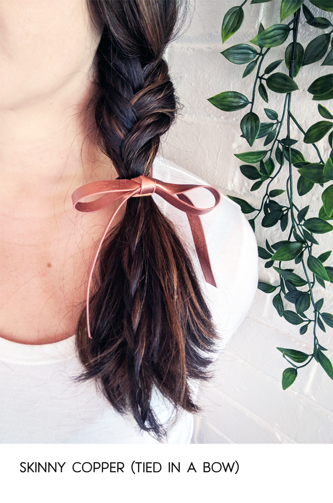 Snippet Copper Tips The Nailasaurus: Leather Ribbon Hair Ties