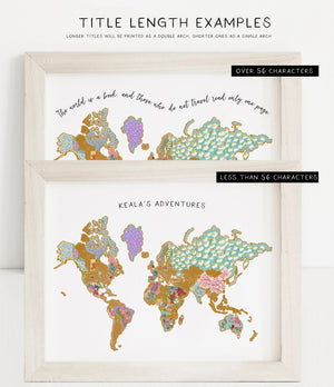 Personalized World National Flowers Map