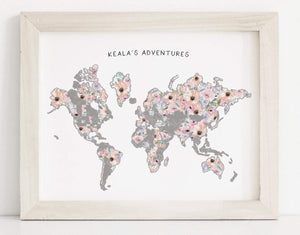 "17x22"" Silver Romantic Florals World Map"