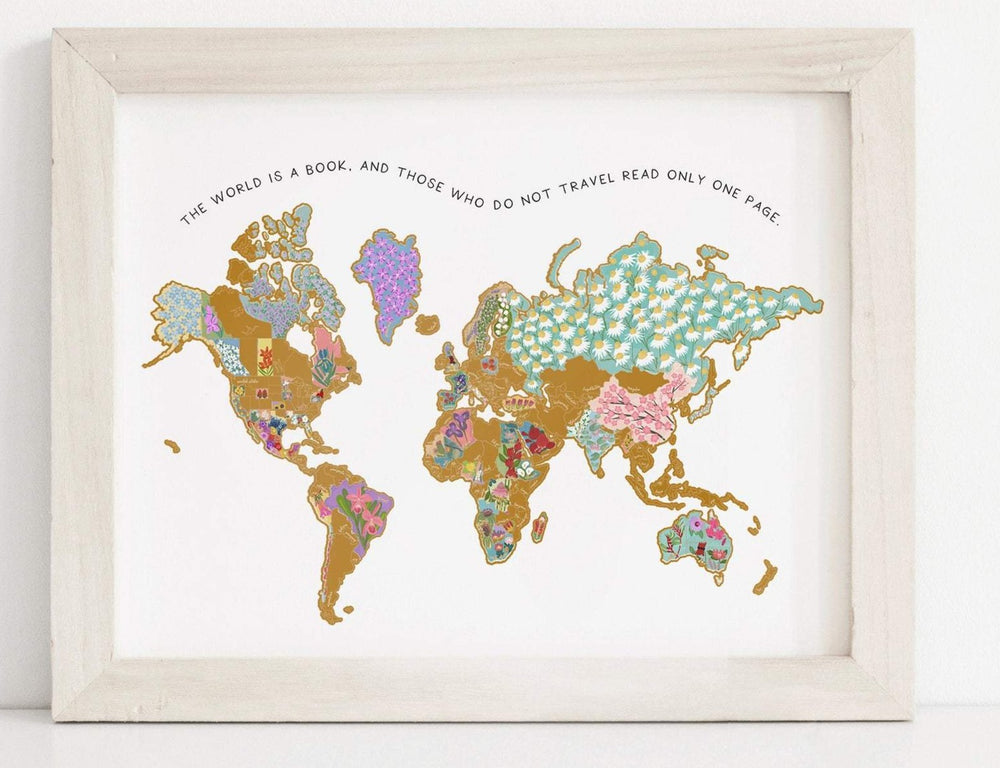 "22x17"" Personalized National Flowers World Map"