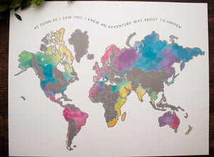 Personalized World Watercolor Map