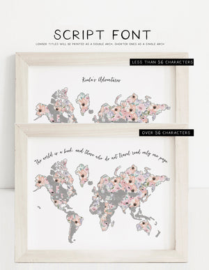 Personalized World Romantic Florals Map