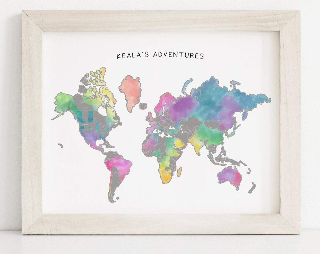 "22x17"" Personalized Watercolor World Map"