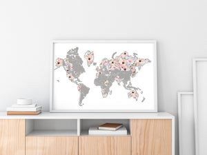 World Romantic Florals Scratch Your Travel Map