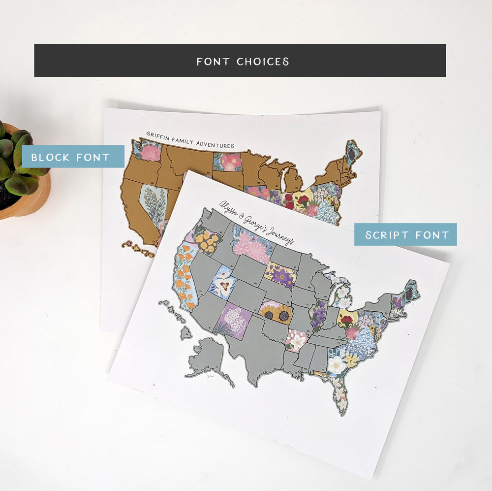 Personalized US State Flowers Map 10x8""