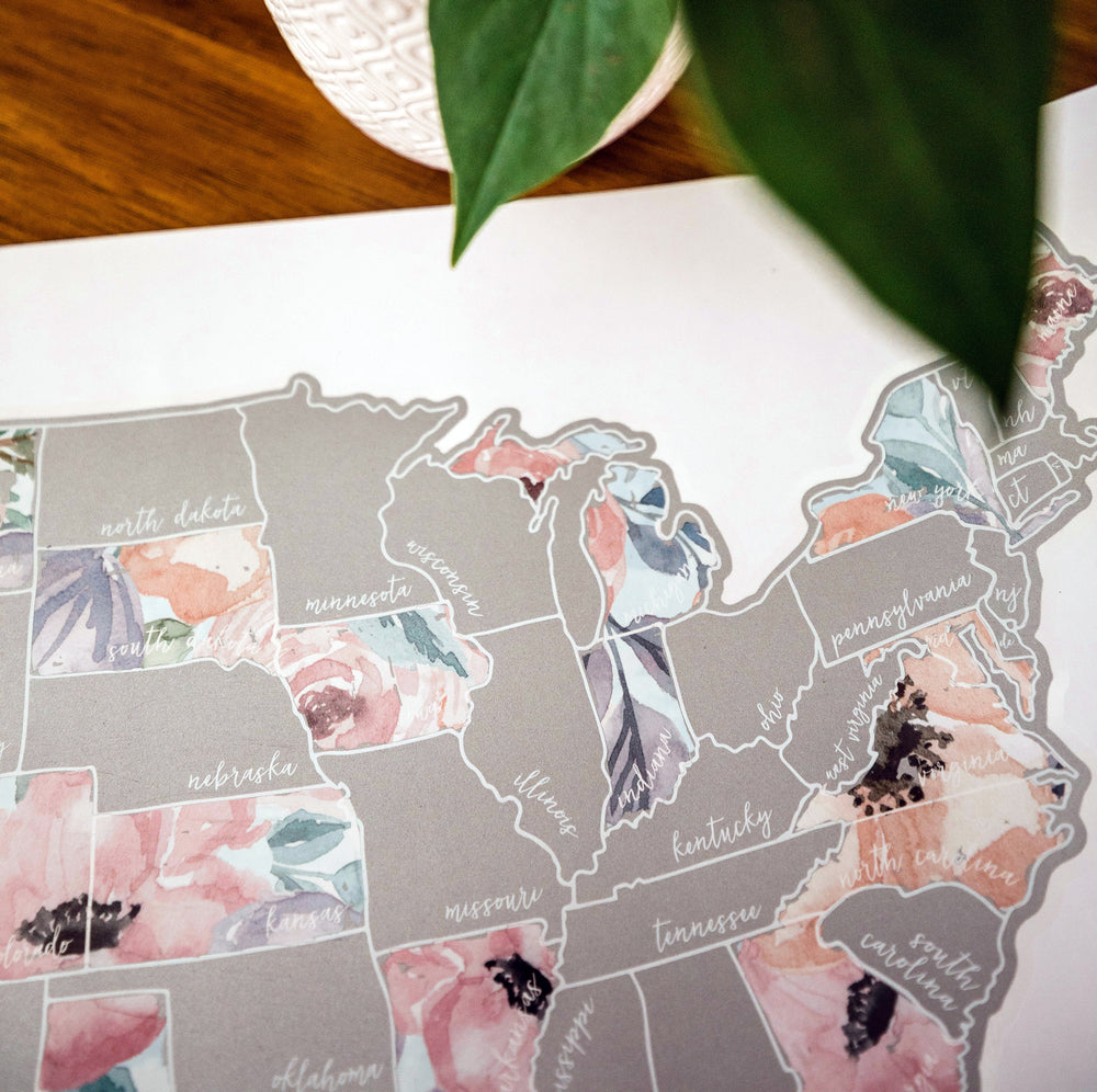 Scratch Your Travels Romantic Florals USA Map