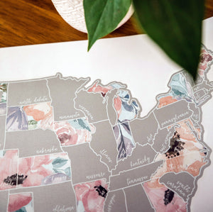 Scratch Your Travels Romantic Florals USA Map (Silver)