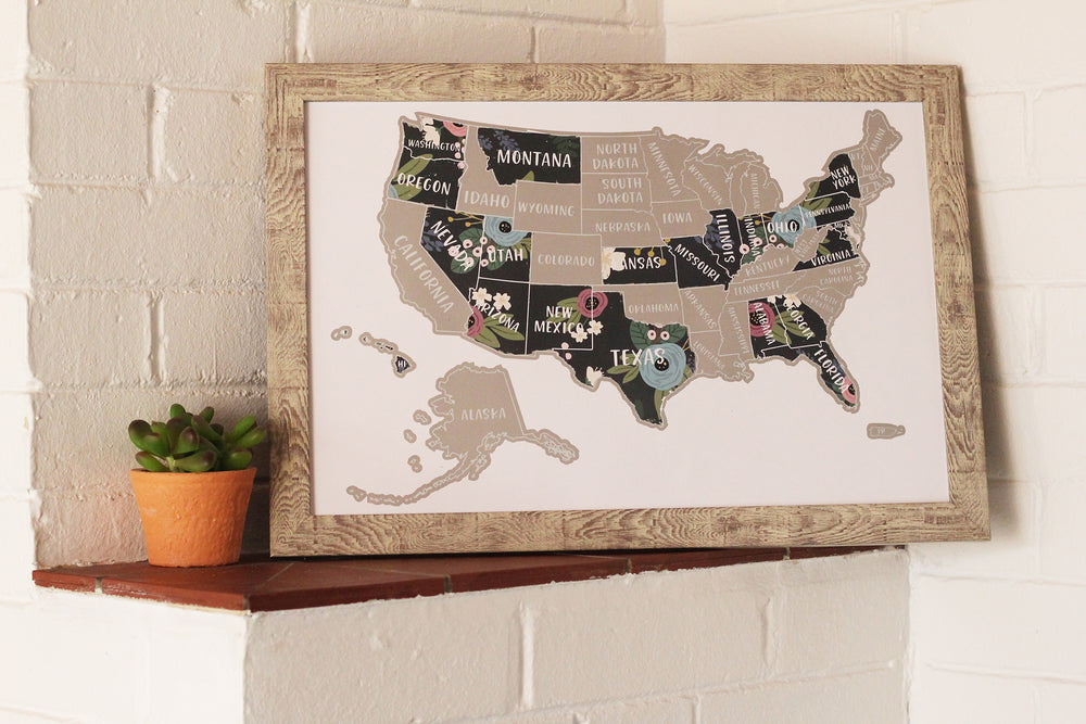 "Scratch Your Travels® USA Floral ""Stop & Smell the Flowers"" Map"